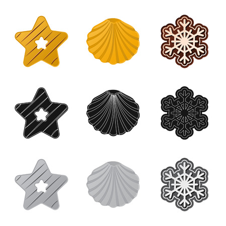Vector design of biscuit and bake symbol. Set of biscuit and chocolate vector icon for stock.
