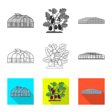 Vector illustration of greenhouse and plant symbol. Collection of greenhouse and garden vector icon for stock. Stock Illustratie