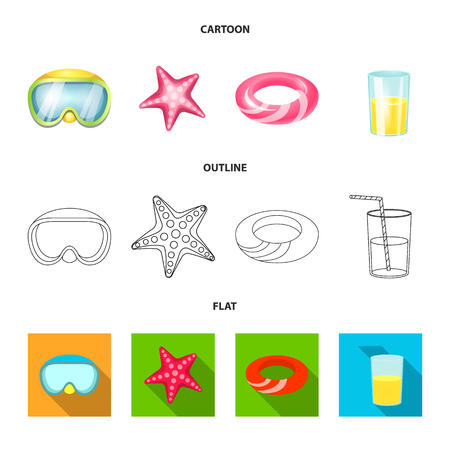 Vector design of equipment and swimming symbol. Set of equipment and activity vector icon for stock.