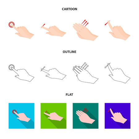 Vector design of touchscreen and hand icon. Set of touchscreen and touch stock symbol for web.