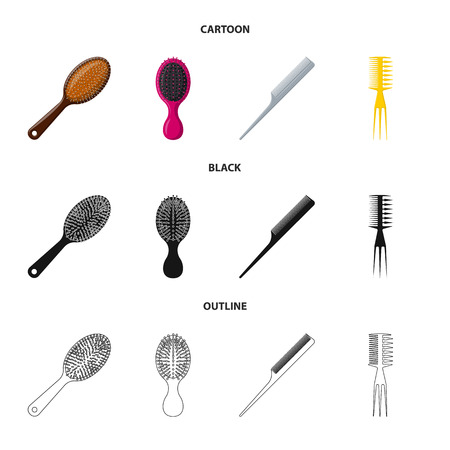 Vector design of brush and hair sign. Collection of brush and hairbrush stock symbol for web.