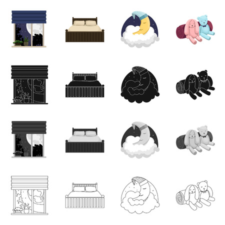 Vector design of dreams and night icon. Set of dreams and bedroom stock symbol for web.