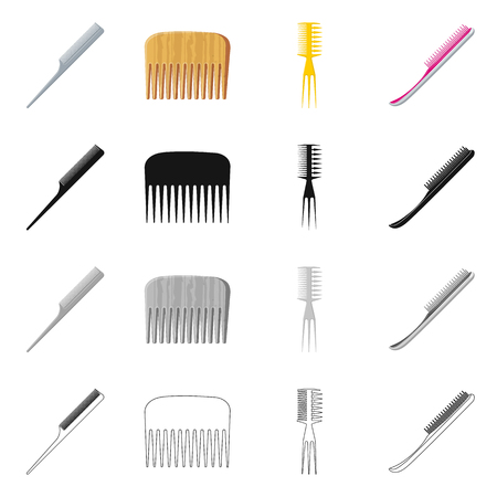 Vector illustration of brush and hair sign. Collection of brush and hairbrush vector icon for stock.