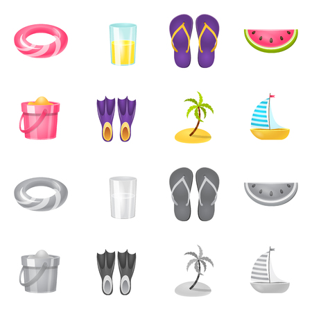 Isolated object of equipment and swimming icon. Set of equipment and activity vector icon for stock. Stok Fotoğraf