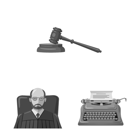 Vector illustration of law and lawyer logo. Collection of law and justice stock vector illustration.