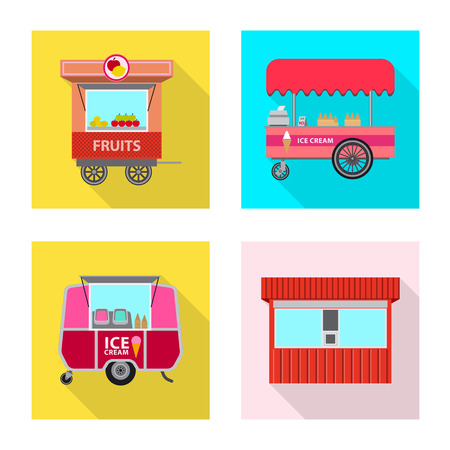 Vector design of market and exterior symbol. Set of market and food stock vector illustration. Illustration