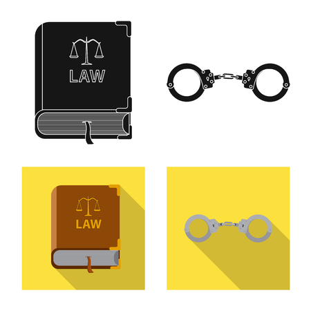 Isolated object of law and lawyer symbol. Set of law and justice stock vector illustration.