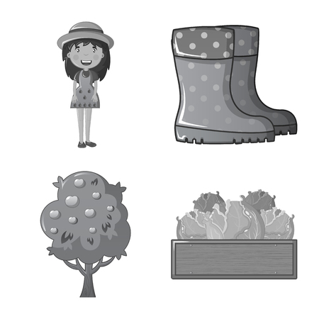 Vector design of farm and agriculture icon. Set of farm and plant vector icon for stock.  イラスト・ベクター素材