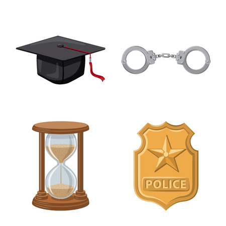Isolated object of law and lawyer symbol. Collection of law and justice vector icon for stock.