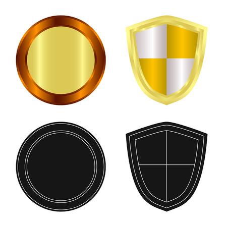 Vector illustration of emblem and badge icon. Collection of emblem and sticker vector icon for stock. Stockfoto - 113220113