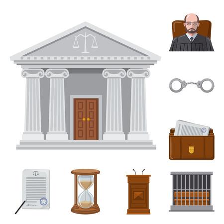 Objet isolé de l'icône de la loi et de l'avocat. Ensemble d'icône de vecteur de droit et de justice pour le stock.