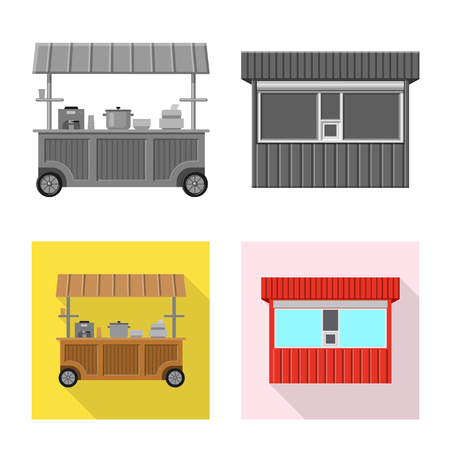 Vector illustration of market and exterior symbol. Collection of market and food stock vector illustration. Illustration
