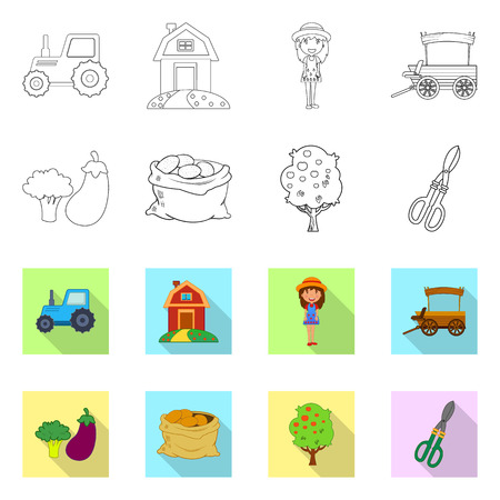 Vector illustration of farm and agriculture symbol. Collection of farm and plant stock symbol for web.