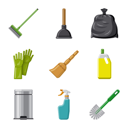 Vector illustration of cleaning and service logo. Collection of cleaning and household stock vector illustration. Banco de Imagens - 113253287