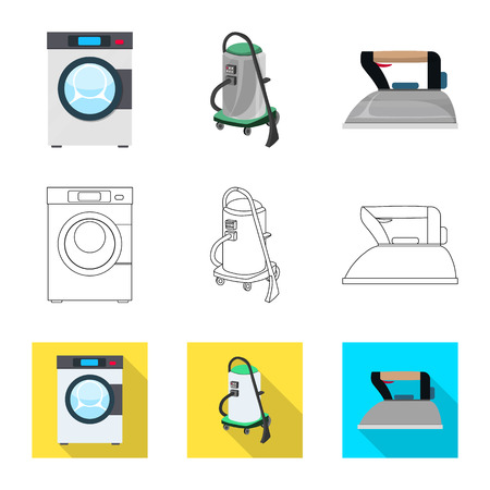 Isolated object of laundry and clean icon. Collection of laundry and clothes stock symbol for web.
