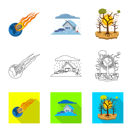 Vector illustration of natural and disaster sign. Set of natural and risk vector icon for stock. Illustration