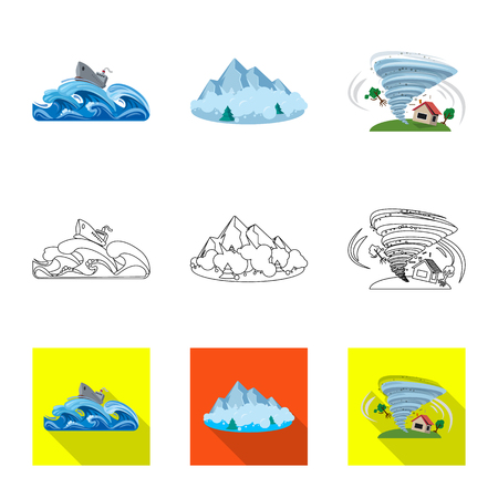 Vector illustration of natural and disaster icon. Set of natural and risk vector icon for stock. 向量圖像
