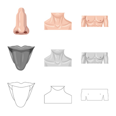 Isolated object of human and part logo. Collection of human and woman vector icon for stock.