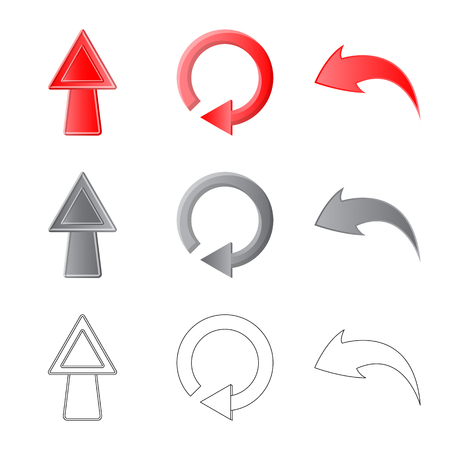Vector design of element and arrow symbol. Set of element and direction stock symbol for web.  イラスト・ベクター素材