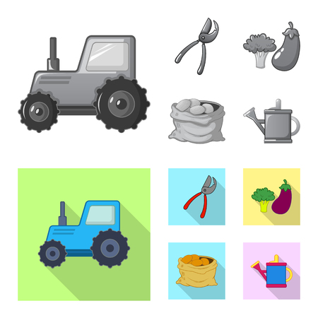 Isolated object of farm and agriculture sign. Set of farm and plant stock symbol for web. Illustration