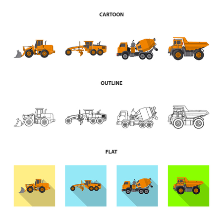 Isolated object of build and construction icon. Collection of build and machinery stock vector illustration. Illusztráció