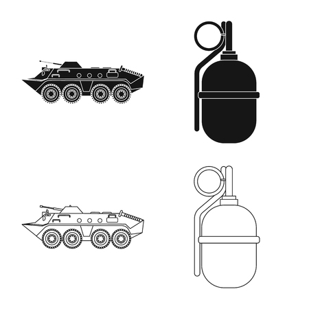 Vector design of weapon and gun icon. Collection of weapon and army stock vector illustration.