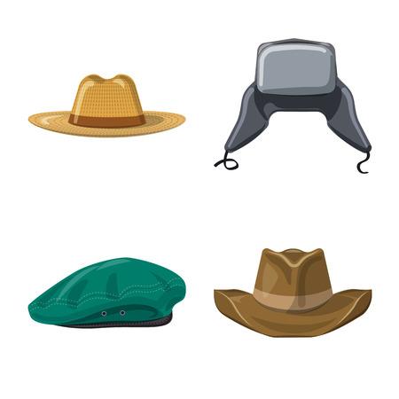 Ilustracja wektorowa logo nakrycia głowy i czapki. Zestaw nakrycia głowy i symbol zapasów akcesoriów dla sieci web.