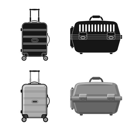 Isolated object of suitcase and baggage logo. Set of suitcase and journey stock symbol for web.