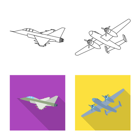 Isolated object of plane and transport logo. Collection of plane and sky stock vector illustration. Illustration