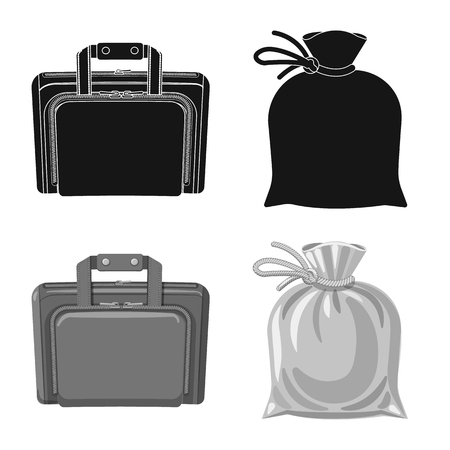Vector design of suitcase and baggage logo. Collection of suitcase and journey stock symbol for web. 免版税图像 - 113273858