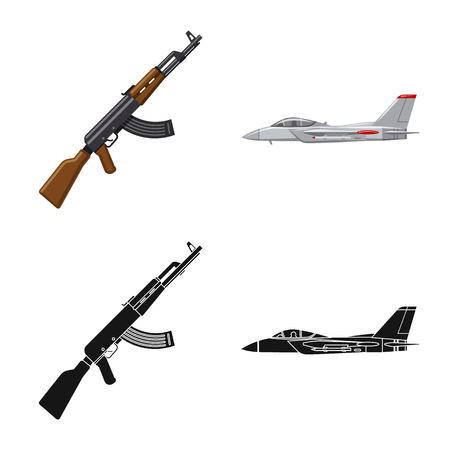 Isolated object of weapon and gun icon. Set of weapon and army vector icon for stock.