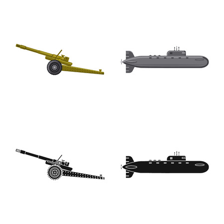 Isolated object of weapon and gun icon. Collection of weapon and army vector icon for stock. Stock Vector - 113273921
