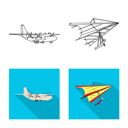Isolated object of plane and transport symbol. Collection of plane and sky stock symbol for web.