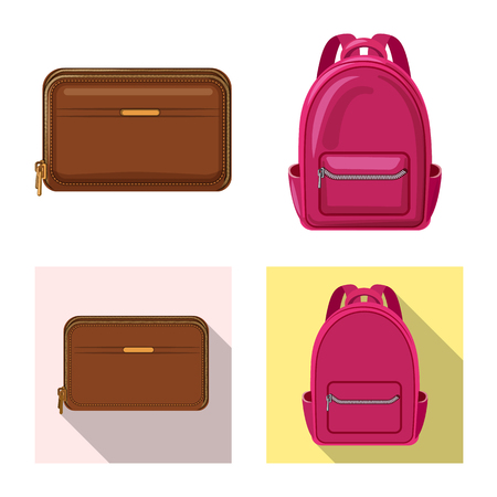 Vector design of suitcase and baggage logo. Collection of suitcase and journey vector icon for stock.