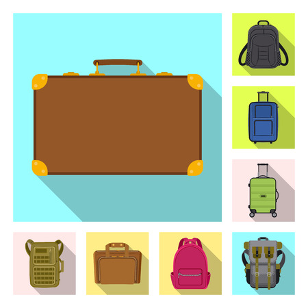 Isolated object of suitcase and baggage symbol. Set of suitcase and journey stock symbol for web.