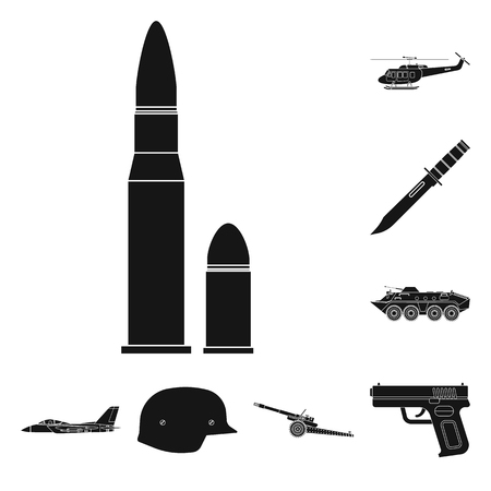 Vector design of weapon and gun sign. Set of weapon and army stock vector illustration.