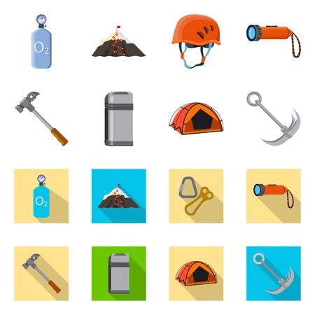 Vector illustration of mountaineering and peak icon. Collection of mountaineering and camp stock vector illustration.