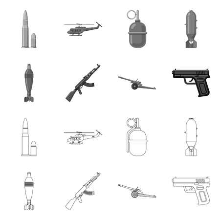 Vector illustration of weapon and gun logo. Set of weapon and army stock vector illustration.