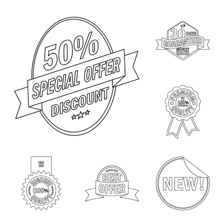 Vector design of emblem and badge symbol. Collection of emblem and sticker stock symbol for web.