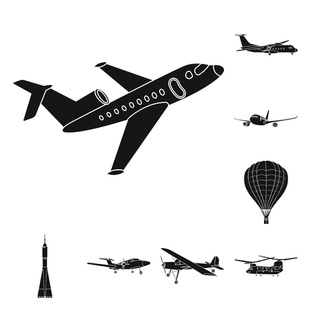 Vector illustration of plane and transport icon. Collection of plane and sky stock symbol for web. 向量圖像