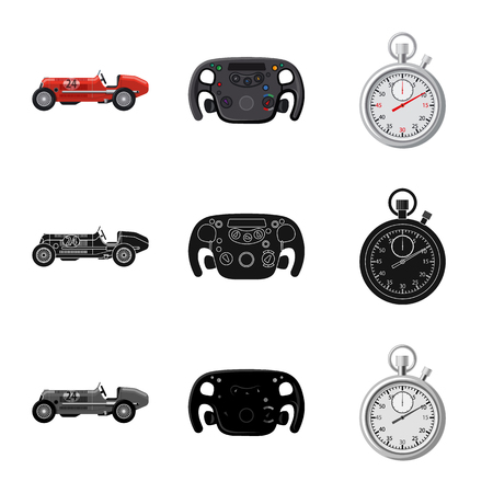 Vector design of car and rally symbol. Set of car and race vector icon for stock.  イラスト・ベクター素材
