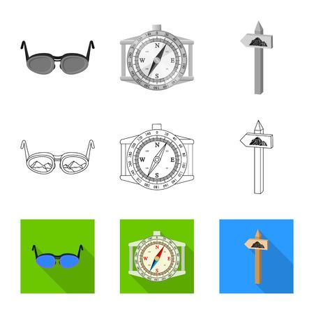 Vector illustration of mountaineering and peak icon. Set of mountaineering and camp vector icon for stock. Illustration