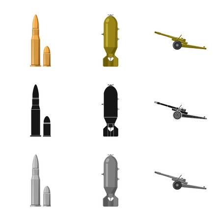 Vector illustration of weapon and gun icon. Collection of weapon and army stock vector illustration. Stock Vector - 113274980