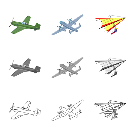 Vector illustration of plane and transport logo. Collection of plane and sky vector icon for stock.
