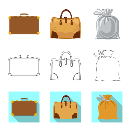 Vector illustration of suitcase and baggage logo. Collection of suitcase and journey stock vector illustration.