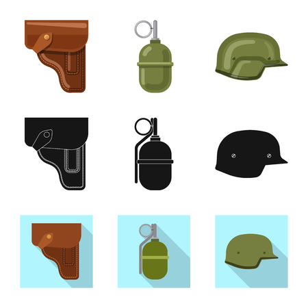 Vector design of weapon and gun sign. Collection of weapon and army stock vector illustration.  イラスト・ベクター素材