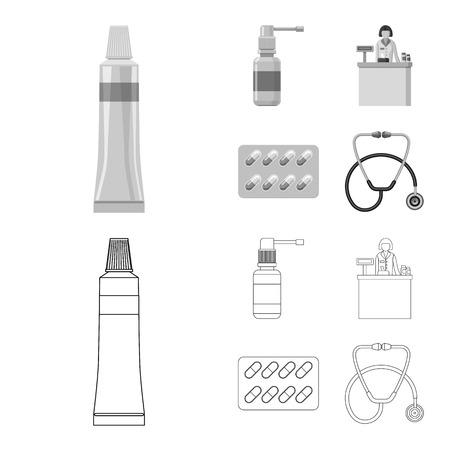 Vector illustration of pharmacy and hospital symbol. Set of pharmacy and business vector icon for stock. Banco de Imagens - 113332191