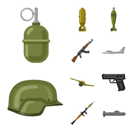 Vector illustration of weapon and gun icon. Set of weapon and army vector icon for stock.