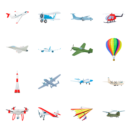 Vector illustration of plane and transport symbol. Set of plane and sky stock symbol for web. Illustration