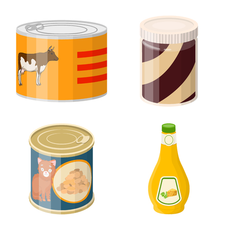 Vector illustration of can and food logo. Set of can and package vector icon for stock. Stock Illustratie